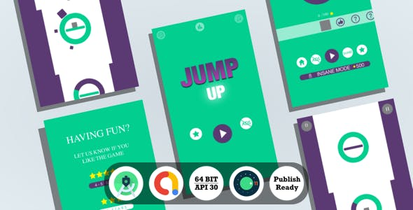 Jump Up : (Android Studio+Admob+Reward Video+Inapp+Leaderboard+ready to publish)