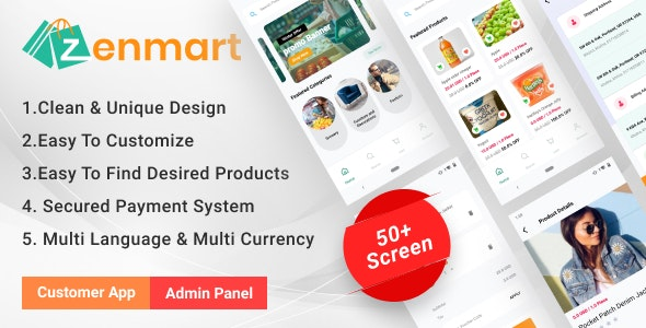 Zenmart - eCommerce Flutter Mobile App with Admin Panel Single Vendor - CodeCanyon Item for Sale