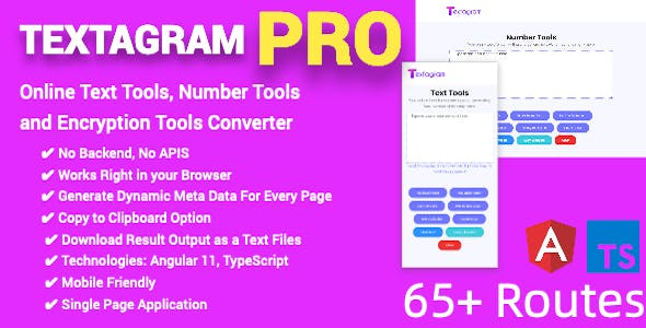 PRO Online Text Tools, Number Tools and Encryption Tools Converter Full Production Ready(Angular 11)