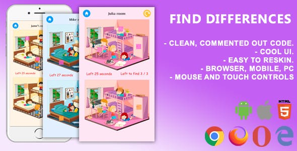 Find Differences. Mobile, Html5 Game .c3p (Construct 3)