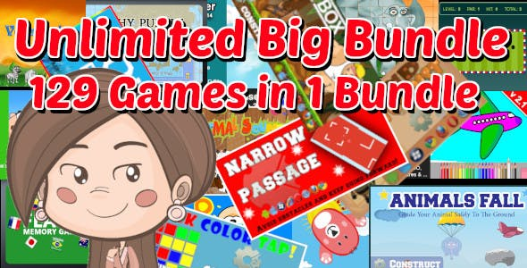 Unlimited Big Bundle   129 Construct 2 and GameMaker 1.4 HTML5 Games With Source in 1 Package