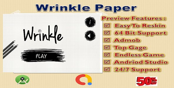 Wrinkle Paper (Compete Game+Admob+Android)