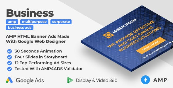 Multipurpose Business Animated AMP Banner Ad Templates (GWD, AMP)