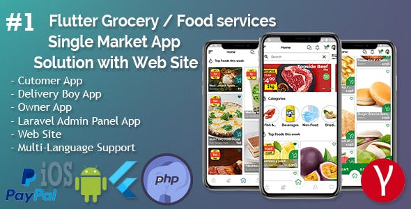 Single Market Grocery/Food/Pharmacy (Android+iOS+Admin Panel) Full App Solution with Web Site
