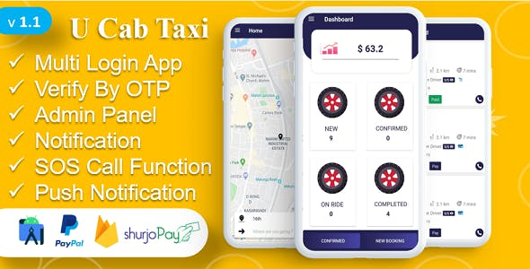 UCab Taxi Cab App | A Complete Solution | Payment Gateway | Login with OTP | Instant Notification