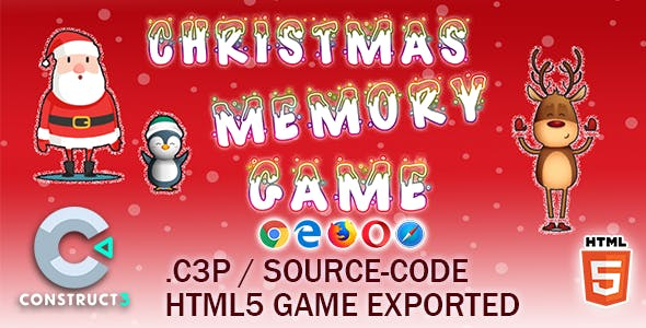 Christmas Memory HTML5 Game - Construct 3 All Source-code