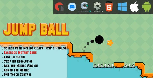 Jump Ball Adventure - HTML5 Game - Web, Mobile and FB Instant games(CAPX, C3p and HTML5)