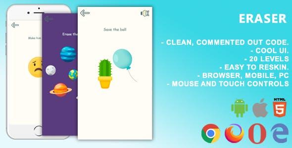 Eraser. Mobile, Html5 Game .c3p (Construct 3)
