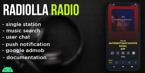 Radiolla S - live radio, news, push, search track, chat, php backend (android)