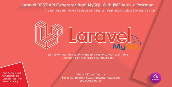 Laravel REST API Generator From MySQL With JWT Auth + Postman - CodeCanyon Item for Sale