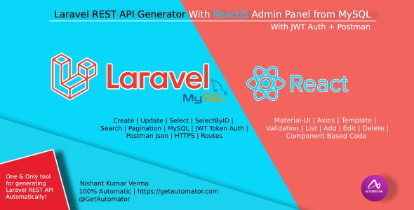 Laravel REST API Generator With React Admin Panel Generator + JWT Auth + Postman - CodeCanyon Item for Sale