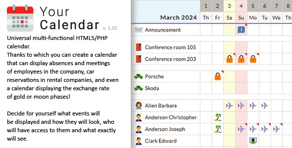 Your Calendar - Universal multi-functional calendar. Team, rental, multipurpose calendar.