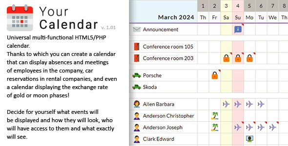 Your Calendar - Universal multi-functional calendar. Team, rental, multipurpose calendar. - CodeCanyon Item for Sale