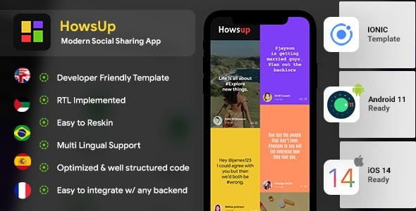 Howsup Social Android App Template + Social iOS App Template (HTML + CSS | IONIC 5)