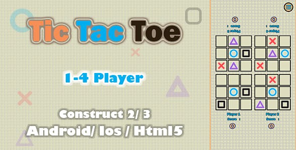 Tic Tac Toe 4 Player- HTML5 Game (Construct 2/3)
