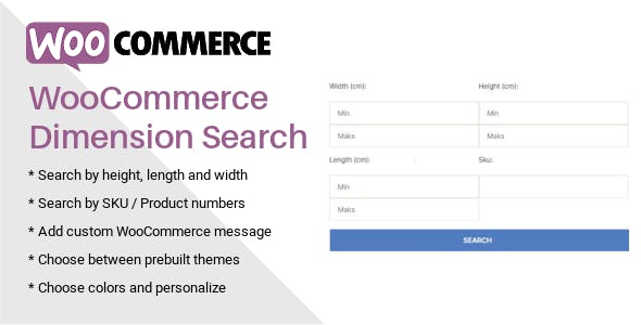 WooCommerce Dimension Search