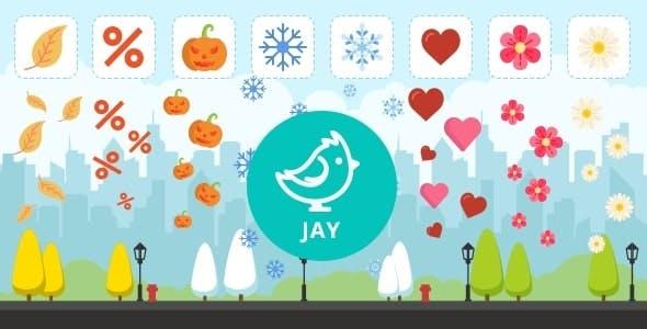 Jay - falling snow, leaves, halloween pumpkin etc