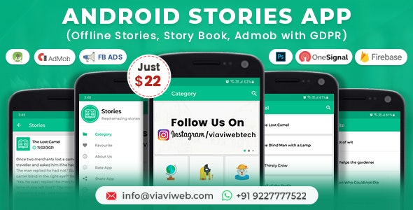 Android Stories App (Offline Stories, Story Book, Admob with GDPR) - CodeCanyon Item for Sale