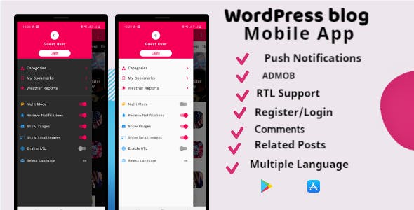 Flutter Wordpress Mobile App Supports Android & IOS