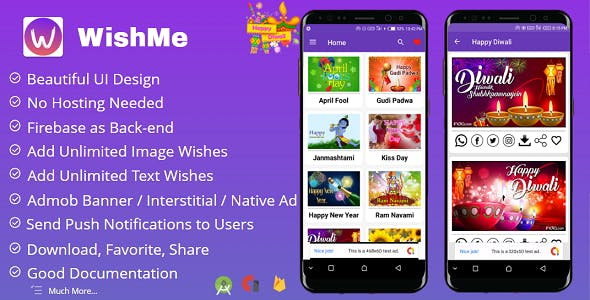 WishMe - Festival Wishes Android App With Firebase Back-end