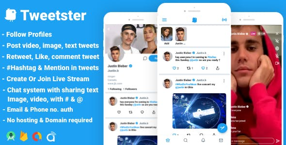 Tweetster - Twitter clone social network app Follow Chat Tweet Live android studio + firebase +admob