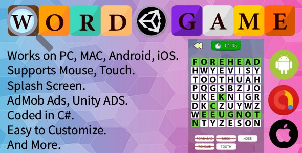 Word Searching Game (Unity Complete Project + AdMob Ads & Unity Ads) - CodeCanyon Item for Sale