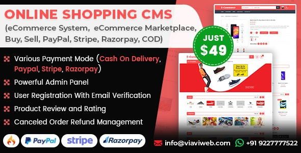 Online Shopping CMS (eCommerce System, eCommerce Marketplace, Buy, Sell, PayPal, Stripe, COD) - CodeCanyon Item for Sale