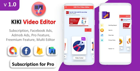 KIKI Pro Video Editor App   Facebook Ads & Admob Ads   Premium Feature   Subscription Plan