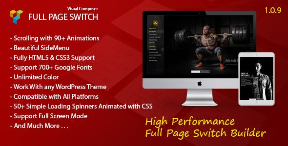 Full Page Switch - With Side Menu - Addon For WPBakery Page Builder (Visual Composer)