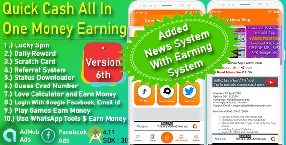QuickCash All In One Money Earning Android App + Games + WhatsApp Tools + Earning System Admin Panel - CodeCanyon Item for Sale
