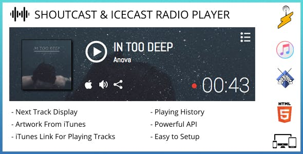 SHOUTcast & Icecast Radio Player with iTunes