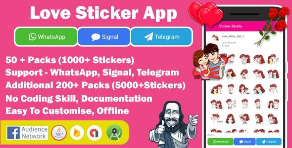 Love Sticker App for WhatsApp , Signal App & Telegram - CodeCanyon Item for Sale