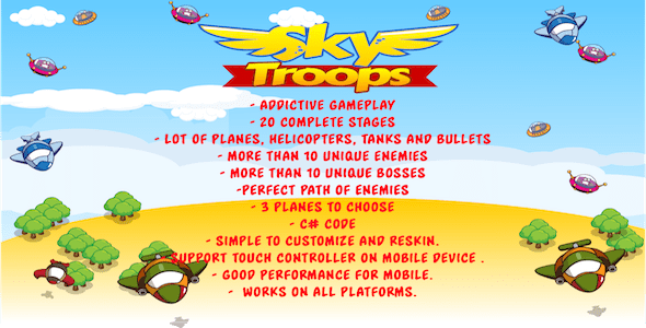 Sky Troops | Unity Portrait Plane Shooter With AdMob Ads - CodeCanyon Item for Sale