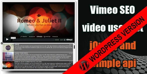 Vimeo SEO user playlist for wordpress