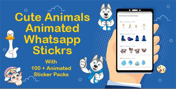 Cute Animals Animated Sticker for WhatsApp (+ Bonus 2500 animated stickers) - CodeCanyon Item for Sale