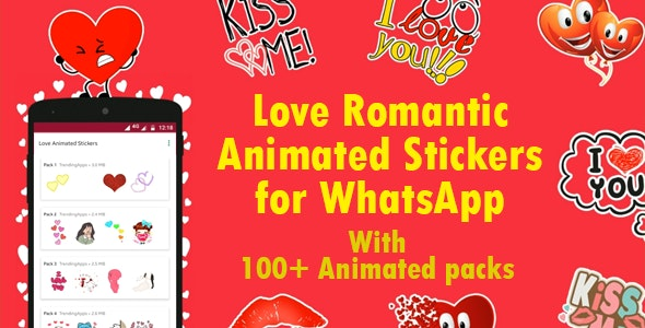 Love Animated Stickers for WhatsApp - Sticker Keyboard (+Bonus 2500+ Animated Stickers) - CodeCanyon Item for Sale