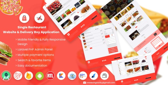 Single Restaurant Food Ordering Website & Delivery Boy App with Backend Admin Panel - CodeCanyon Item for Sale