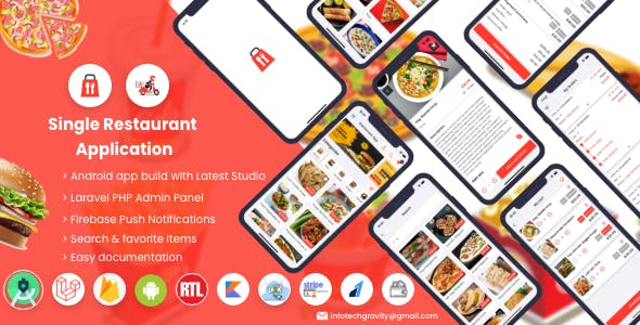Single Restaurant Food Ordering Android User & Delivery Boy Apps with Backend Admin Panel