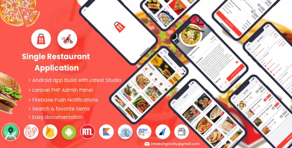 Single Restaurant v4.0 – Android User & Delivery Boy Apps With Laravel Admin Panel – nulled
