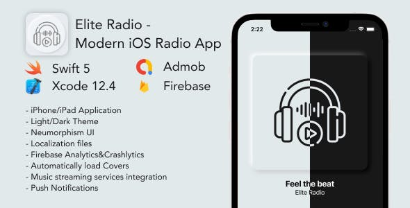 Elite Radio - Modern Neumorphism UI Radio App for iOS