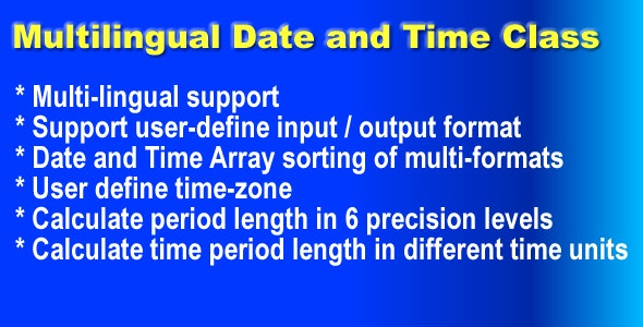 Multilingual Date and Time Class - CodeCanyon Item for Sale