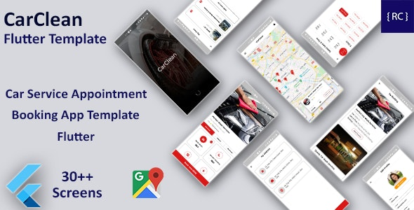 Car Service Appointment Booking Android App Template + iOS App Template | Flutter | CarClean - CodeCanyon Item for Sale