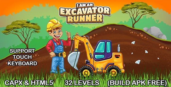 I am an Excavator Runner Game (CAPX & HTML5) Full Game - CodeCanyon Item for Sale