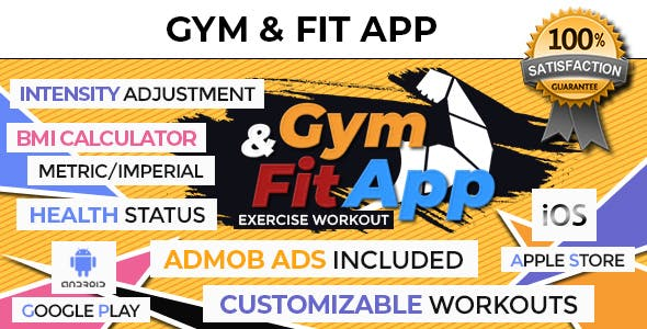 Gym & Fitness Exercise Workout App With CMS + AdMob + GDPR - Android & iOS