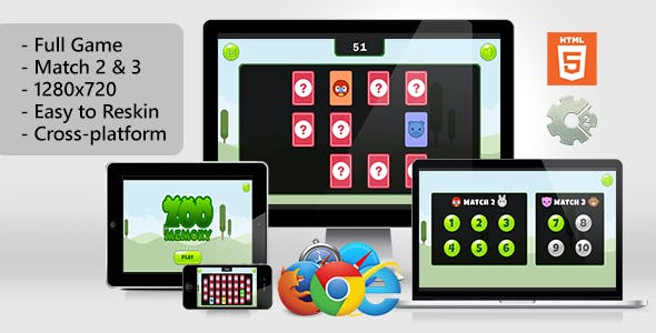 Zoo Memory - HTML5 Game (.capx)