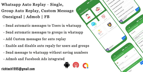 Whatsapp Auto Replay - Single, Group Auto Replay  Onesignal   Admob   FB   IN App