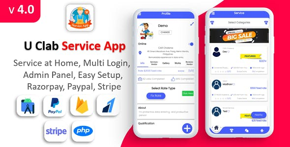 U Clab Service App | Service At Home | Multi Payment Gateways Integrated | Multi Login