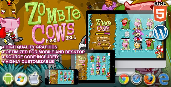 Zombie Cows - HTML5 Game - CodeCanyon Item for Sale