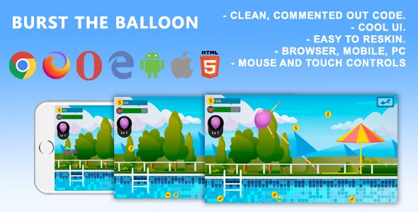 Burst the balloon. Mobile, Html5 Game .c3p (Construct 3)