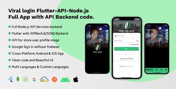Viral login Flutter-API-Node.js Full App with API Backend code.